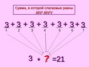 1 2 3 4 5 3 3 3 3 3 + + + + 3 ? * =21 + 3 + 3 6 7 7 Сумма, в которой слагаемы