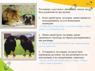 Пословицы в русском и английском языках могут быть разделены на три группы: