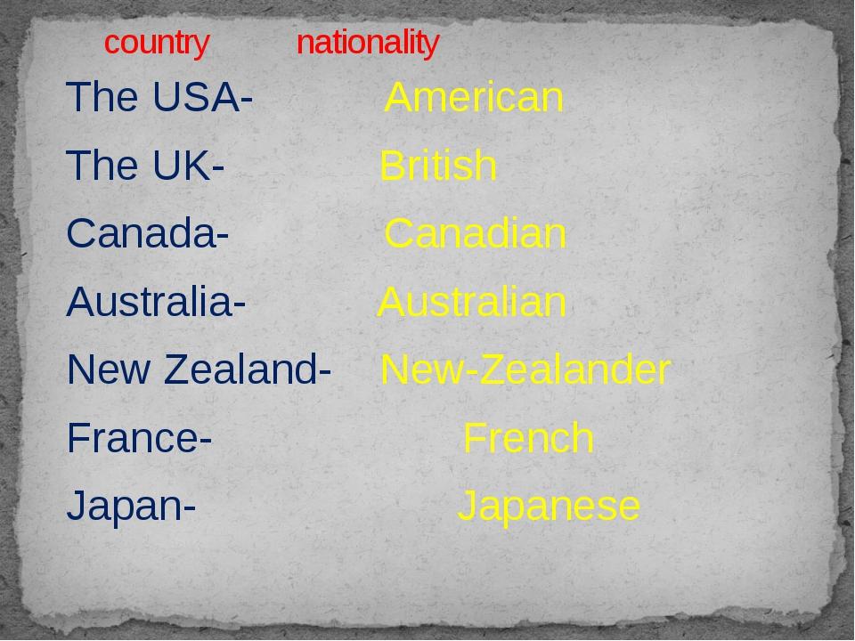 The USA- American The UK- British Canada- Canadian Australia- Australian New...