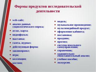 Формы продуктов исследовательской деятельности web-сайт; анализ данных социо
