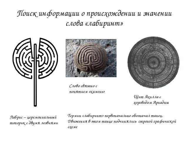 Поиск информации о происхождении и значении слова «лабиринт» Лабрис – церемон...
