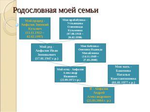 Родословная моей семьи Я - Анфалов Андрей Александрович (25.03.2004 г. р.) Мо