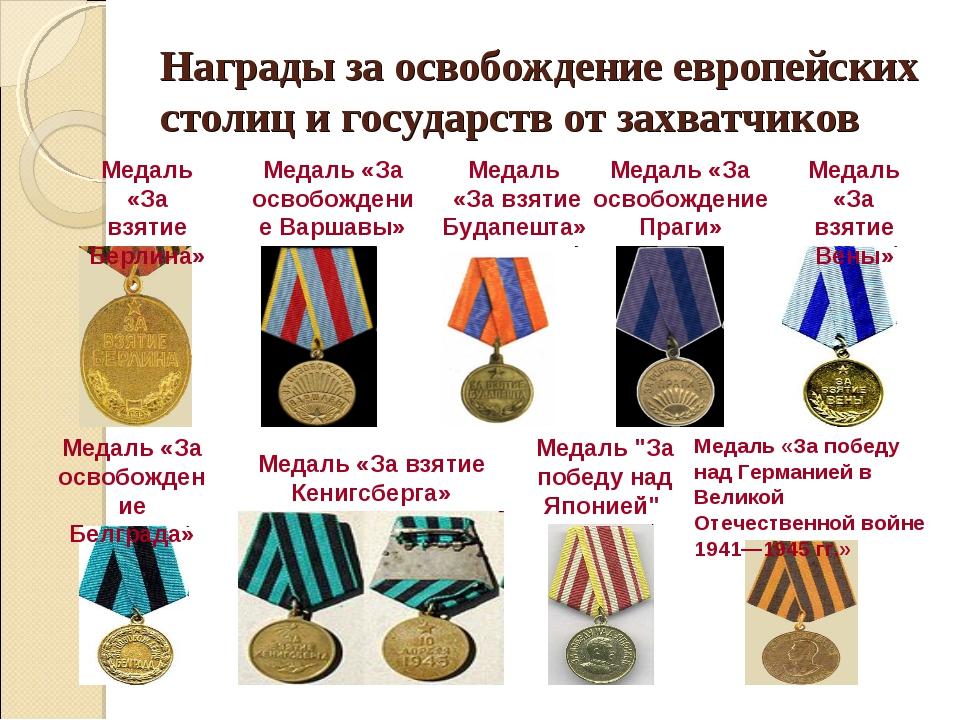 Награды за освобождение европейских столиц и государств от захватчиков Медаль...
