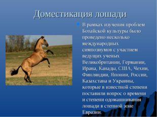 Доместикация лошади В рамках изучения проблем Ботайской культуры было проведе