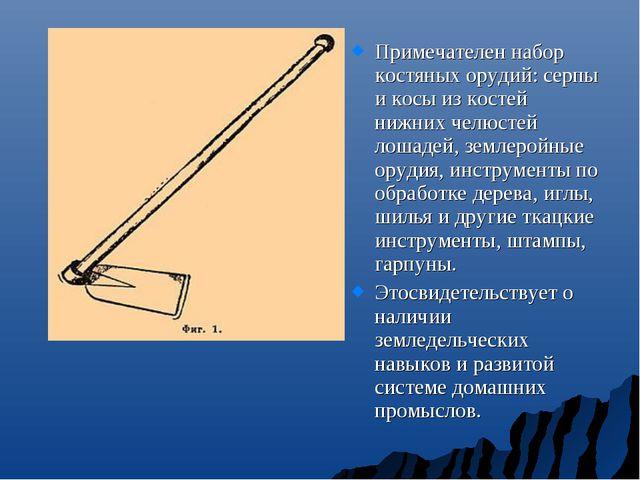 Примечателен набор костяных орудий: серпы и косы из костей нижних челюстей л...