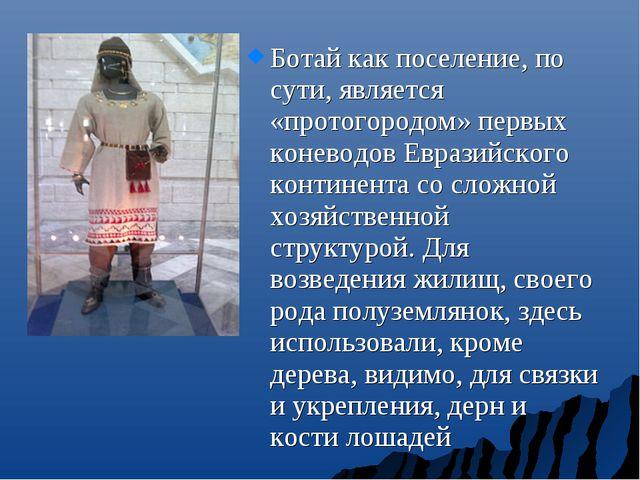 Ботай как поселение, по сути, является «протогородом» первых коневодов Еврази...