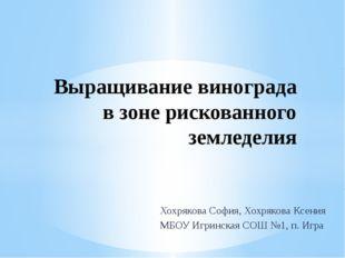 Хохрякова София, Хохрякова Ксения МБОУ Игринская СОШ №1, п. Игра Выращивание