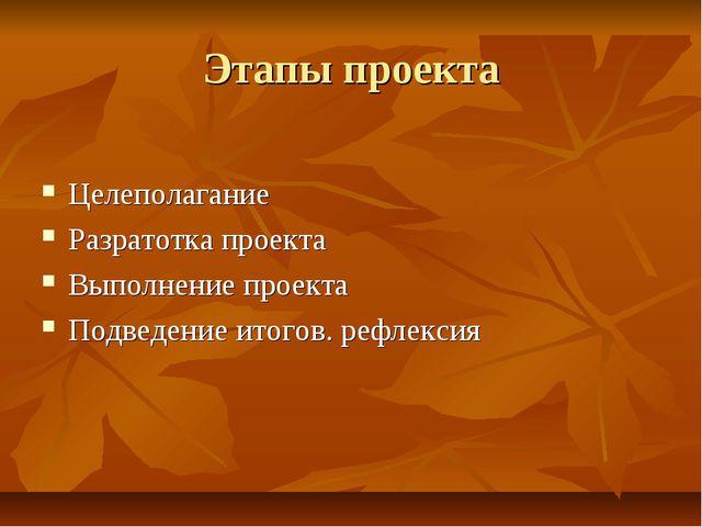 Этапы проекта Целеполагание Разратотка проекта Выполнение проекта Подведение...
