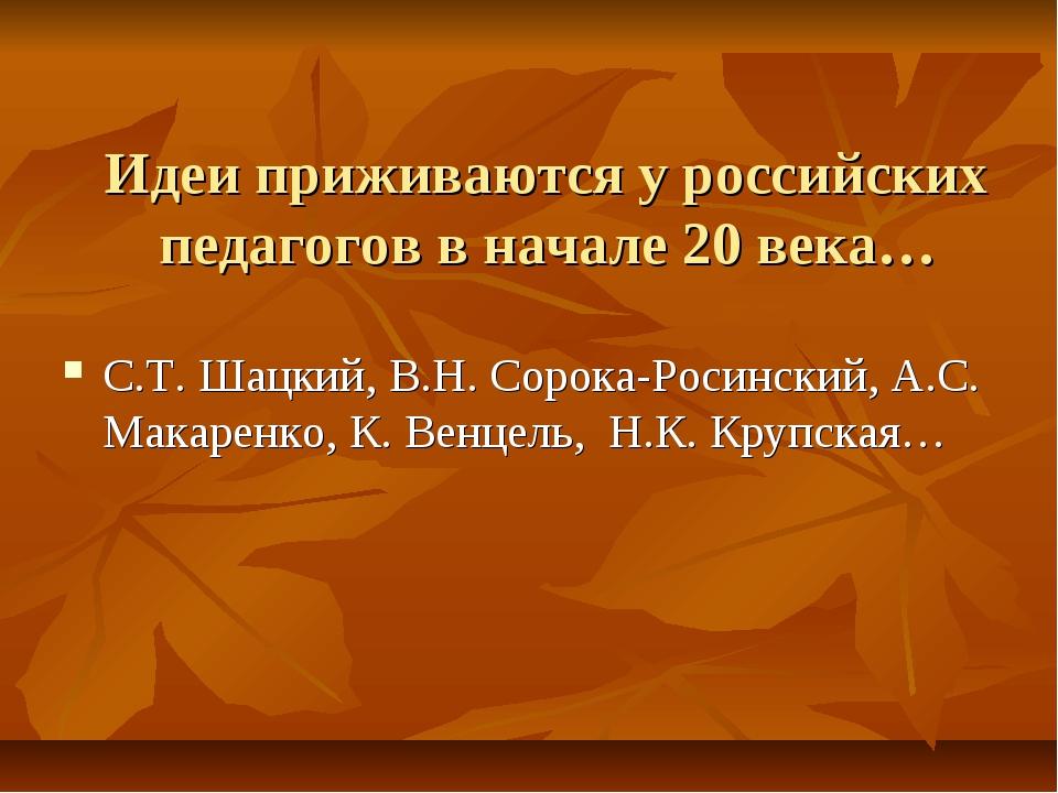 Идеи приживаются у российских педагогов в начале 20 века… С.Т. Шацкий, В.Н. С...