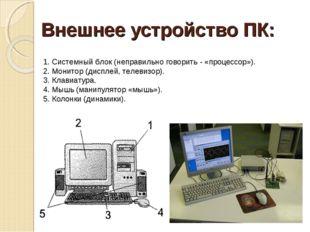 Внешнее устройство ПК: 1. Системный блок (неправильно говорить - «процессор»)