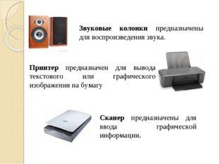 Звуковые колонки предназначены для воспроизведения звука. Принтер предназначе