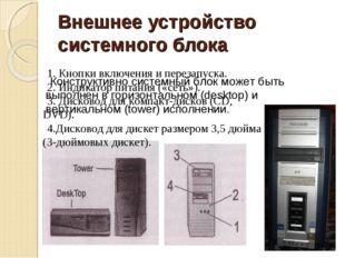 Внешнее устройство системного блока Конструктивно системный блок может быть в