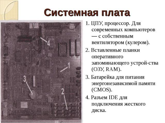 1. ЦПУ, процессор. Для современных компьютеров — с собственным вентилятором (...