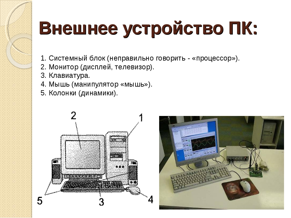 Внешнее устройство ПК: 1. Системный блок (неправильно говорить - «процессор»)...