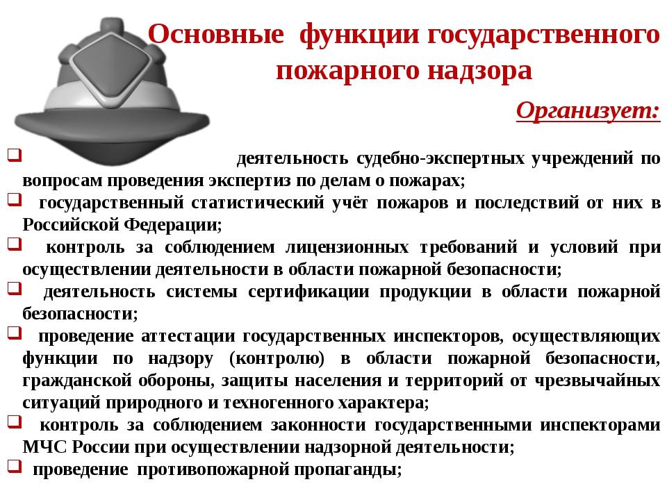 Основные функции государственного пожарного надзора Организует: деятельность...