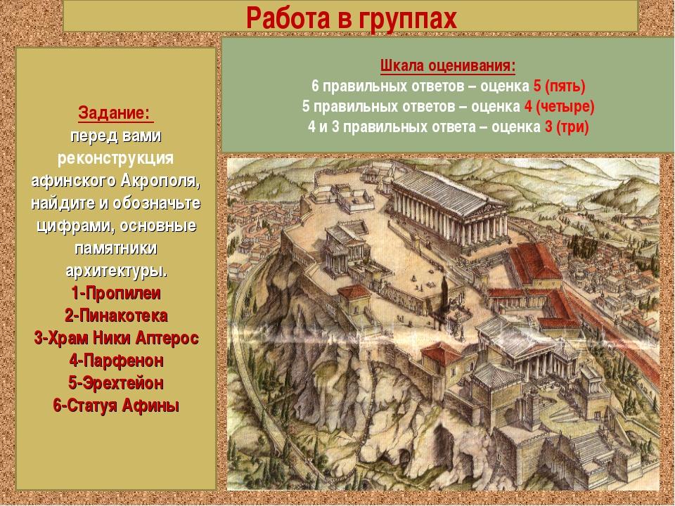 Работа в группах Задание: перед вами реконструкция афинского Акрополя, найдит...
