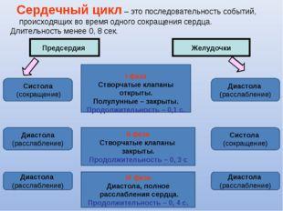 Сердечный цикл – это последовательность событий, происходящих во время одног