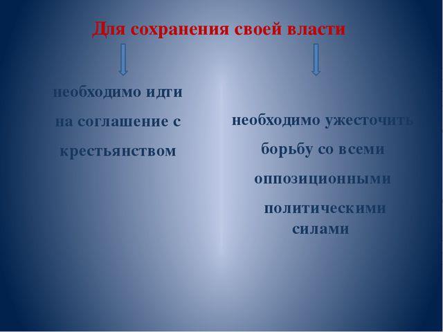 Для сохранения своей власти необходимо идти на соглашение с крестьянством нео...