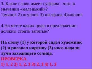 3. Какое слово имеет суффикс -чик- в значении «маленький»? 1)мячик 2) огурчик