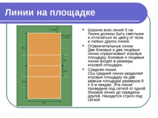Линии на площадке Ширина всех линий 5 см. Линии должны быть светлыми и отлича