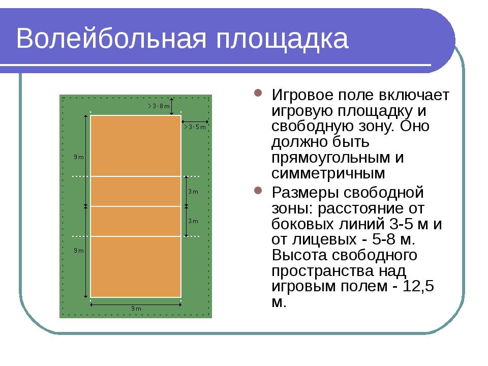 Волейбольная площадка Игровое поле включает игровую площадку и свободную зону...