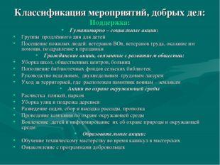 Классификация мероприятий, добрых дел: Поддержка: Гуманитарно – социальные ак