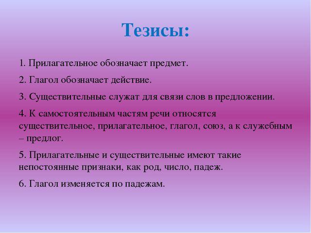 Тезисы: 1. Прилагательное обозначает предмет. 2. Глагол обозначает действие....