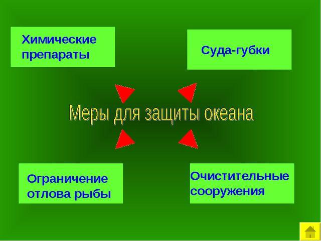 Химические препараты Суда-губки Ограничение отлова рыбы Очистительные сооруже...