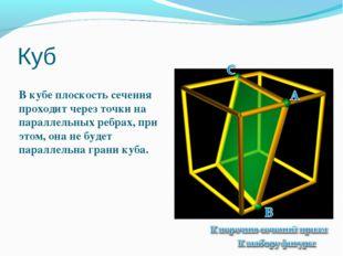 Куб В кубе плоскость сечения проходит через точки на параллельных ребрах, при