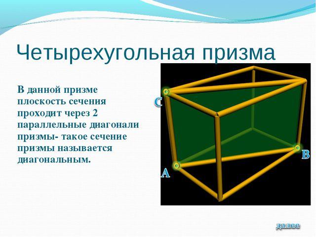 Четырехугольная призма В данной призме плоскость сечения проходит через 2 пар...