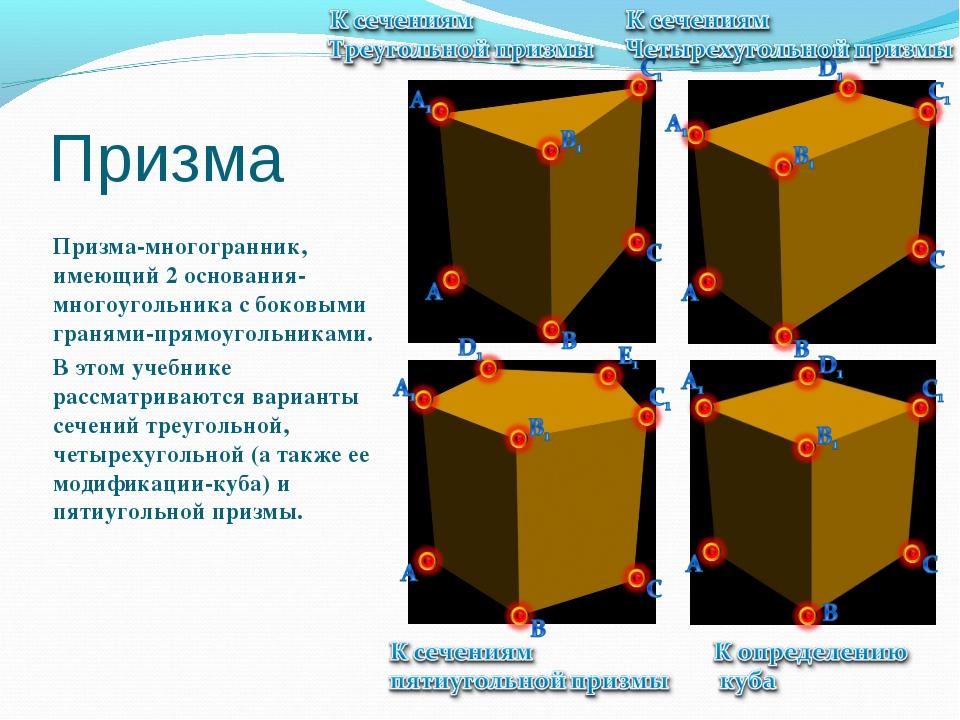 Призма Призма-многогранник, имеющий 2 основания-многоугольника с боковыми гра...