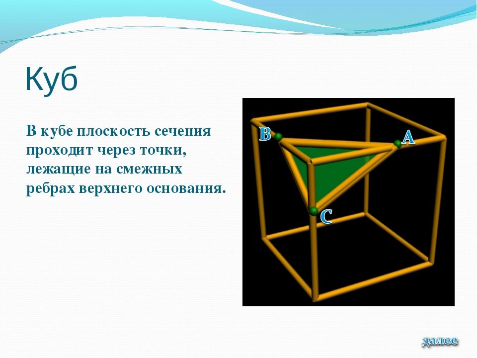 Куб В кубе плоскость сечения проходит через точки, лежащие на смежных ребрах...