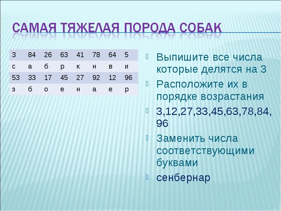 Выпишите все числа которые делятся на 3 Расположите их в порядке возрастания...