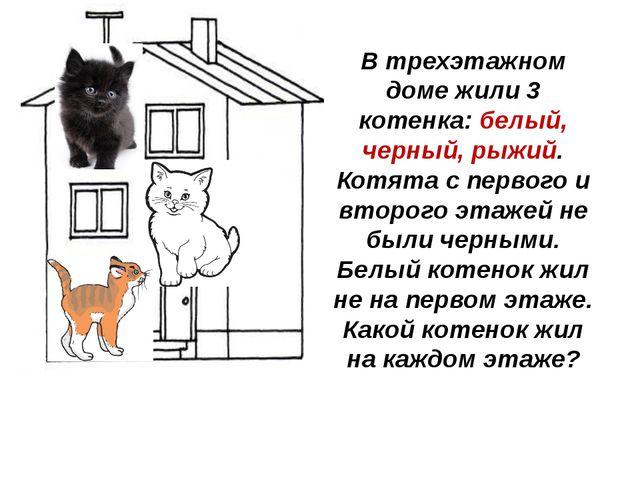 В трехэтажном доме жили 3 котенка: белый, черный, рыжий. Котята с первого и в...