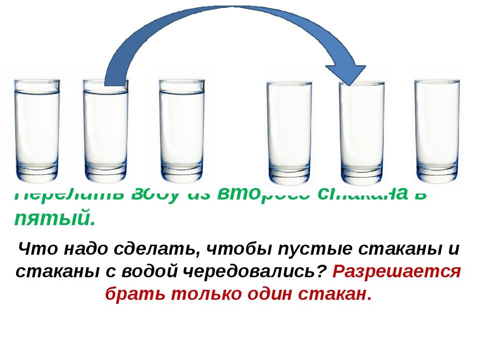 Что надо сделать, чтобы пустые стаканы и стаканы с водой чередовались? Разреш...