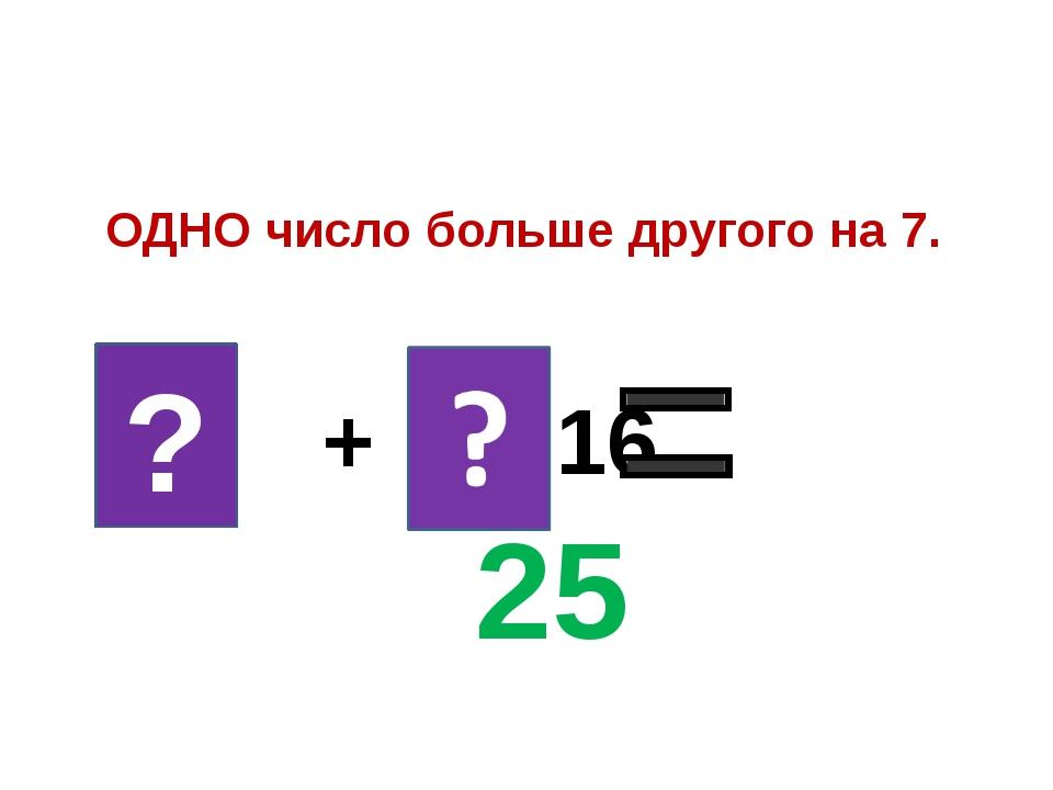 9 + 16 25 ОДНО число больше другого на 7. ?
