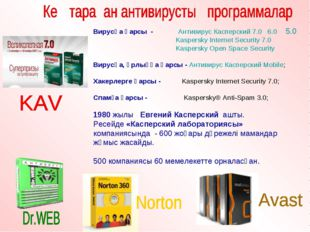 Вирусқа қарсы - Антивирус Касперский 7.0 6.0 5.0 Kaspersky Internet Security