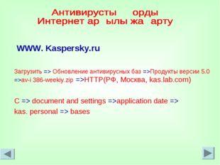 WWW. Kaspersky.ru Загрузить => Обновление антивирусных баз =>Продукты версии