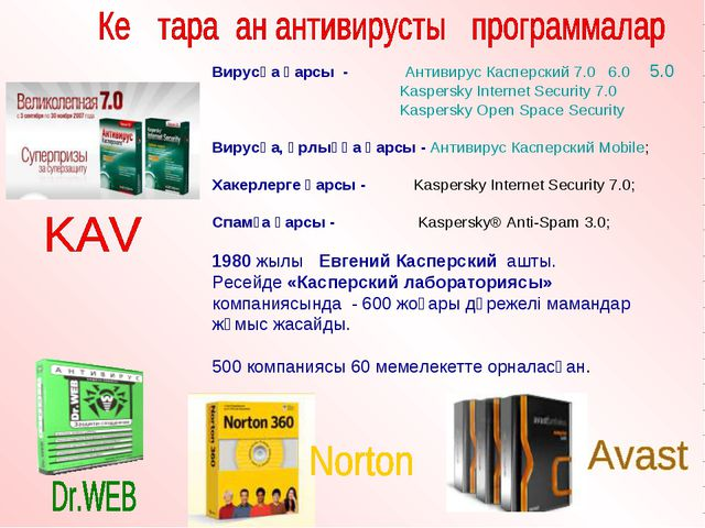 Вирусқа қарсы - Антивирус Касперский 7.0 6.0 5.0 Kaspersky Internet Security...