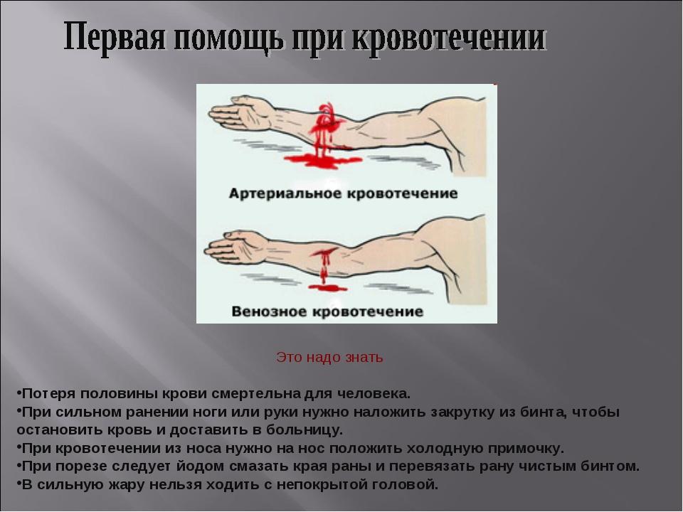 Это надо знать Потеря половины крови смертельна для человека. При сильном ран...
