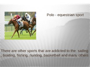 Polo - equestrian sport There are other sports that are addicted to the sail