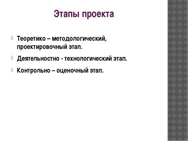 Этапы проекта Теоретико – методологический, проектировочный этап. Деятельност...