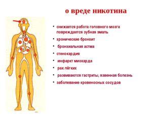 о вреде никотина снижается работа головного мозга повреждается зубная эмаль х