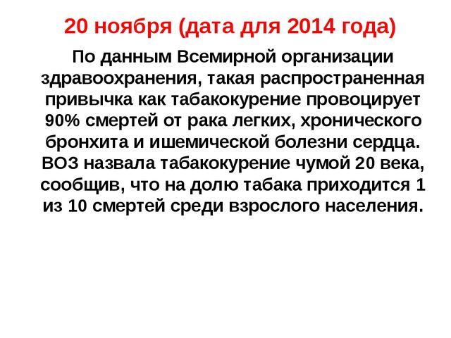 20 ноября (дата для 2014 года) По данным Всемирной организации здравоохранени...