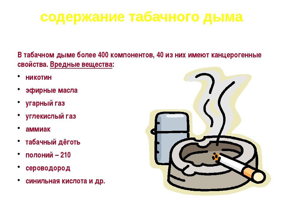 содержание табачного дыма В табачном дыме более 400 компонентов, 40 из них им...