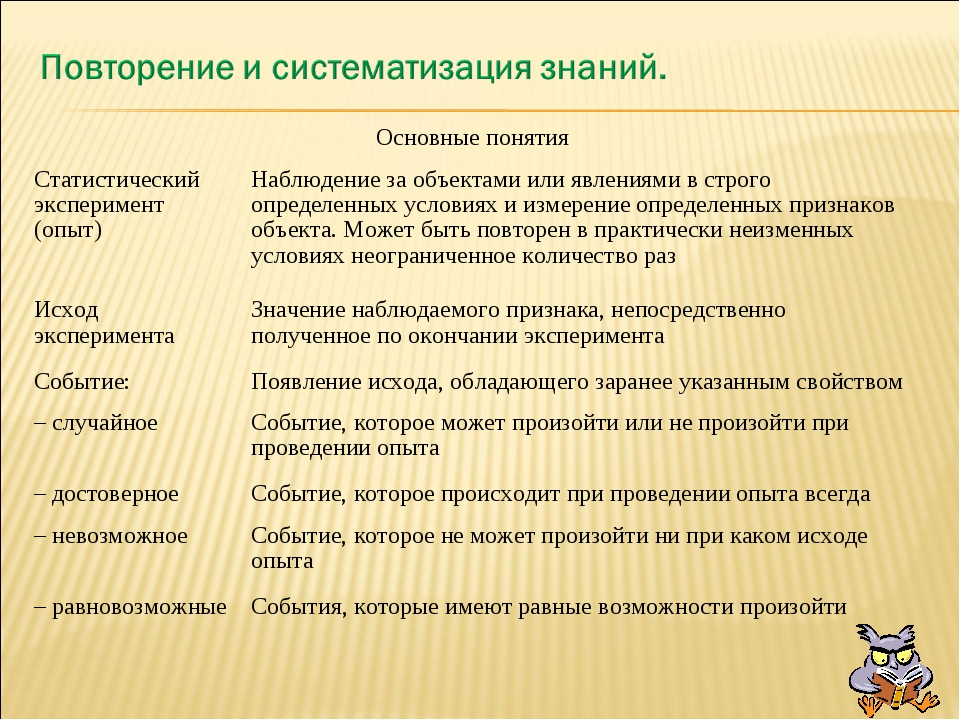 Основные понятия Статистический эксперимент (опыт) Наблюдение за объектами...