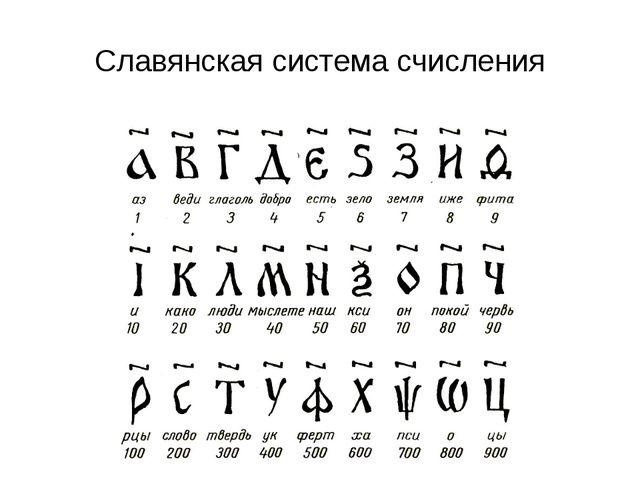 Славянская система счисления СС Древней Руси основана на алфавитной записи чи...