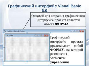 Графический интерфейс Visual Basic 6.0 Основой для создания графического инте