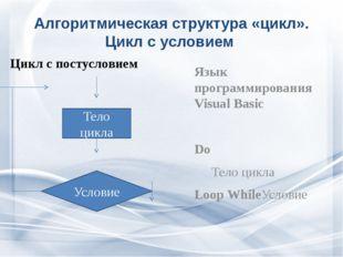 Алгоритмическая структура «цикл». Цикл с условием Цикл с постусловием Язык пр