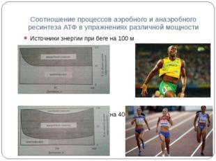 Соотношение процессов аэробного и анаэробного ресинтеза АТФ в упражнениях раз